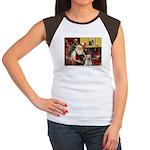 Santa's 2 Labs (Y+B) Women's Cap Sleeve T-Shirt