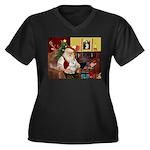Santa's Maltese Women's Plus Size V-Neck Dark T-Sh