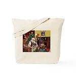 Santa/Norwegian Elkhound Tote Bag