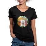 XmasMusic 3/OES #3 Women's V-Neck Dark T-Shirt