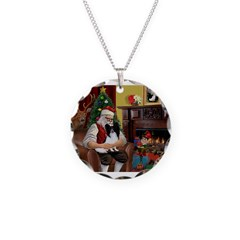 Santa's Papillon Necklace Circle Charm