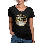 Wisemen/Pekingese Women's V-Neck Dark T-Shirt