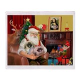 Santa's 2 Pekingese Throw Blanket