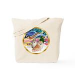 XmasMagic/2 Pomeranians Tote Bag
