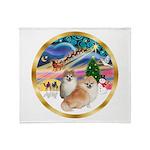 XmasMagic/2 Pomeranians Throw Blanket