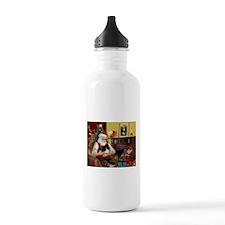 Santa's Pomeranian (bw) Water Bottle