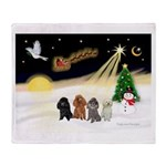 Night Flight/4 Poodles Throw Blanket