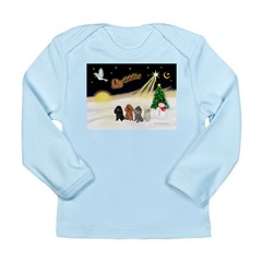 Night Flight/4 Poodles Long Sleeve Infant T-Shirt
