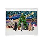 XmasMagic-6 Poodles Throw Blanket