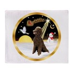 Night Flight/Poodle Std(choc) Throw Blanket