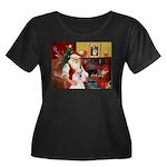 Santa's Std Poodle(w) Women's Plus Size Scoop Neck