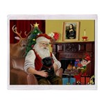 Santa's Black Pug Throw Blanket