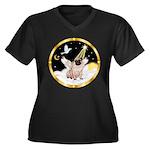 Night Flight/ Pug Women's Plus Size V-Neck Dark T-