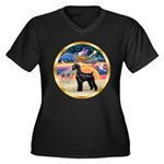 XmasStar/Schnauzer G Women's Plus Size V-Neck Dark