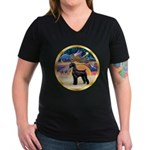 XmasStar/Schnauzer G Women's V-Neck Dark T-Shirt