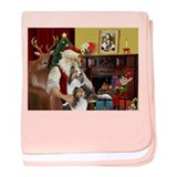 Santa / 2 Shelties (dl) baby blanket