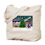 Xmas Magic & Silky Terrier Tote Bag