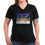 XmasSunrise/Tibet Ter Women's V-Neck Dark T-Shirt