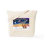XmasSunrise/2 Vizslas Tote Bag