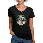 XmasSunrise/Vizsla Women's V-Neck Dark T-Shirt