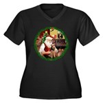 Santa's Welsh T Women's Plus Size V-Neck Dark T-Sh
