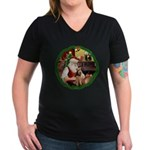 Santa's Welsh T Women's V-Neck Dark T-Shirt