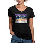 XmasSunrise/2 Westies Women's V-Neck Dark T-Shirt