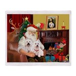 Santa's Westie pair Throw Blanket