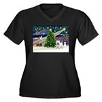 Xmas Magic & Westie Women's Plus Size V-Neck Dark