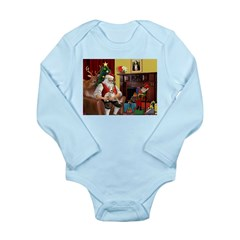 Santa's Whippet Long Sleeve Infant Bodysuit