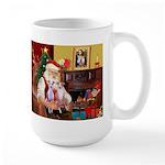 Santa & his 2 Whippets Large Mug