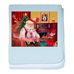 Santa & his 2 Whippets baby blanket