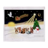 Night Flight/5 Yorkies Throw Blanket