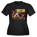 Santa's Yorkie (#11) Women's Plus Size V-Neck Dark