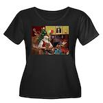 Santa's Yorkie (#11) Women's Plus Size Scoop Neck