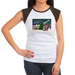 XmasMagic/2 Yorkies Women's Cap Sleeve T-Shirt