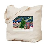 XmasMagic/2 Yorkies Tote Bag
