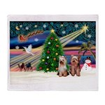 XmasMagic/2 Yorkies Throw Blanket