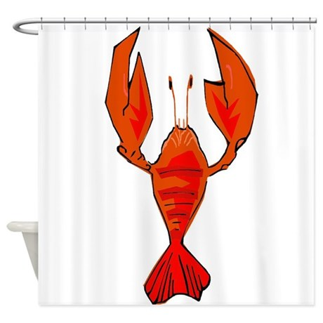 Crawfish fleur de lis shape shower curtain by figstreetstudio - Fleur de lis shower curtains ...