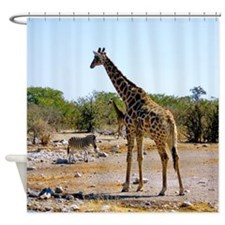 Giraffe and Zebra African Shower Curtain