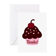 Pink and Brown Cupcake Thank Greeting Card