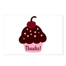 Pink and Brown Cupcake Thank Postcards (Package of