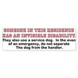 Service Dog in Residence Bumper Sticker