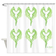 5 green & beige seahorses in a row Shower Curtain