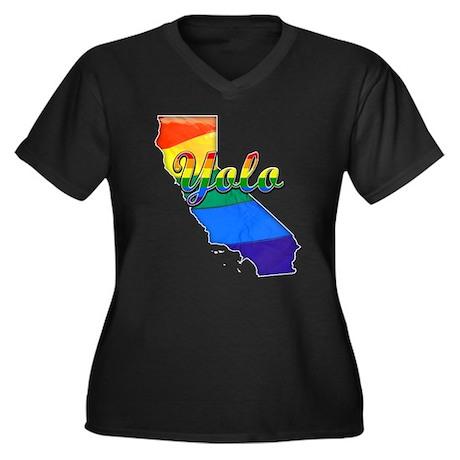 Yolo, California. Gay Pride Women's Plus Size V-Ne