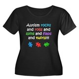 Autism Rocks Women's Plus Size Scoop Neck Dark T-S