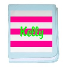 Personalized Pink and Green baby blanket