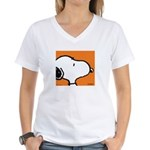 Fresh Orange Snoopy Women's V-Neck T-Shirt