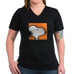 Fresh Orange Snoopy Women's V-Neck Dark T-Shirt