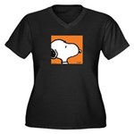 Fresh Orange Snoopy Women's Plus Size V-Neck Dark